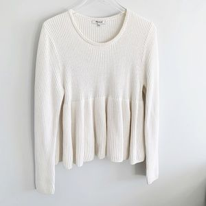 Madewell swingy ribbed pullover sweater cream XL